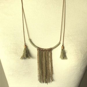 Inc Gold-Tone Adjustable Tassle Bar Necklace